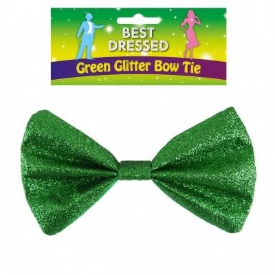 Vlinderstrik glitter groen