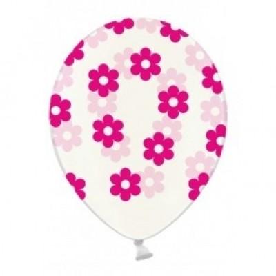 Foto van Ballonnen doorzichtig met bloemen roze