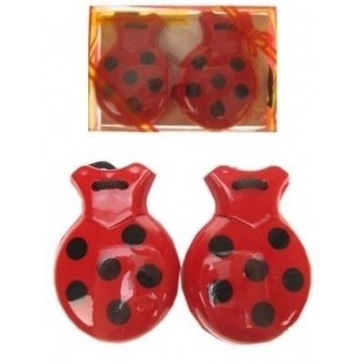 Foto van Castagnetten in doos rood/zwart bollen