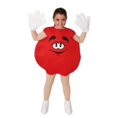 Foto van M&M kostuum rood kind