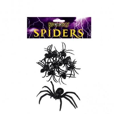 Zwarte spinnen 9 stuks