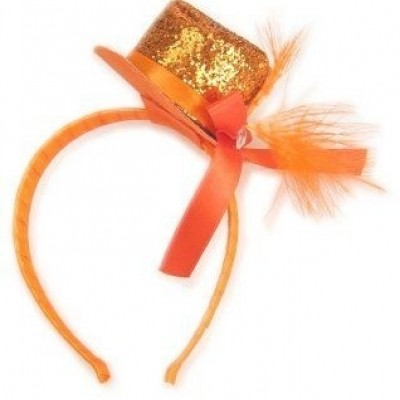 Foto van Diadeem met glitterhoedje oranje