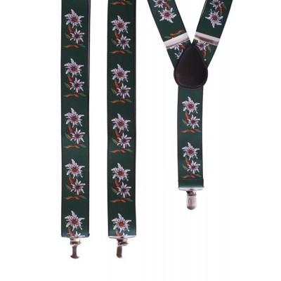 Tiroler bretels met bloemen groen