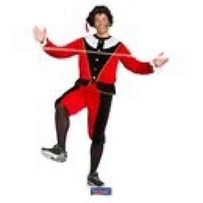 Foto van Pieten kostuum rood zwart L-XL