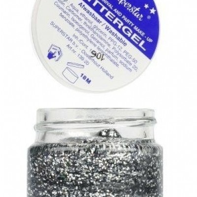 Foto van Gel superstar glitterzilver (huid&haar) (20ml)