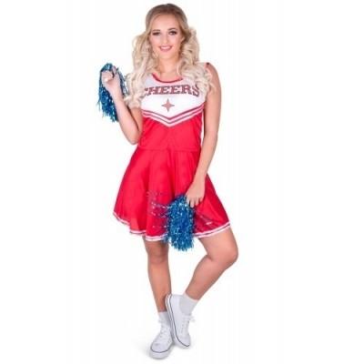 Cheerleader kostuum met pom pom's