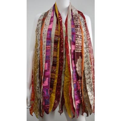 Foto van Otracosa sjaal zijden stroken rood N11