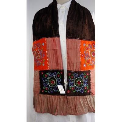 Foto van Romano sjaal patchwork 24x150cm bruin oranje