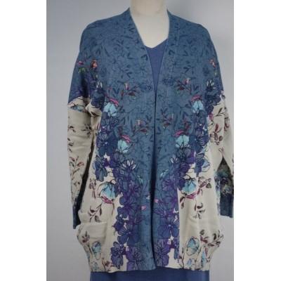 Foto van Kooi vest jeans blauw creme katoen bloem 16256