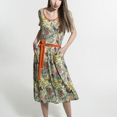 Foto van Smashed jurk groen viscose compta