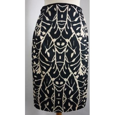 Foto van Eroke rok 2-zijdig creme zwart knielang
