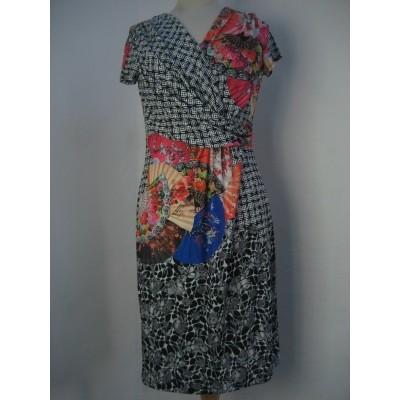 Eroke jurk meerkleurig overslag met waaiers ABF53-P39