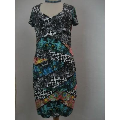Eroke jurk slank vallend zwart blauw ABG30-P21