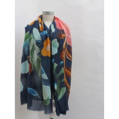 Oilily sjaal wol blau 80x190 afingerpaint