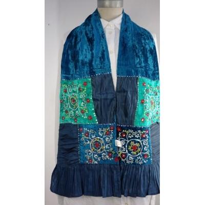 Foto van Romano sjaal patchwork 24x150cm petrol blauw