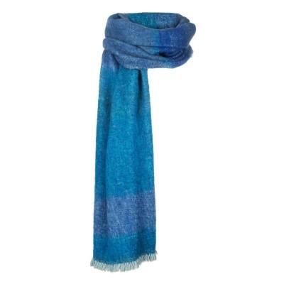 Foto van Inti handgeweven sjaal natural yarns blau