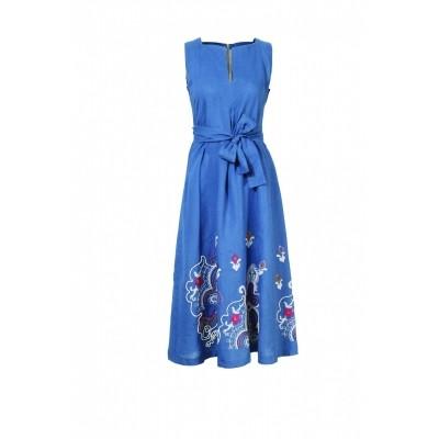 Foto van IVKO jurk blauw linnen 71529