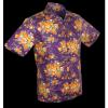 Afbeelding van Overhemd korte mouw, flowers violet orange