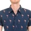 Afbeelding van Overhemd korte mouw, navy met Flamingo's