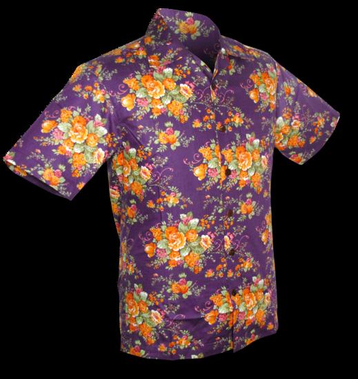 Overhemd korte mouw, flowers violet orange