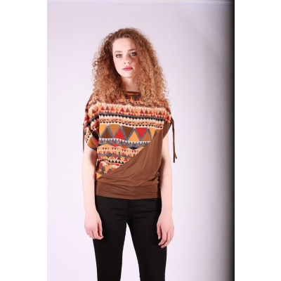 Shirt top Mona bruin oranje multicolour