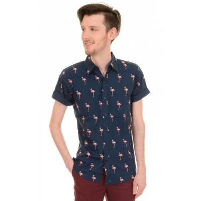 Overhemd korte mouw, navy met Flamingo's