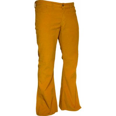 Ribcord retro broek wijdepijp normale lengte mosterd geel