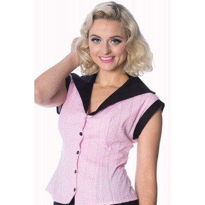 Blouse Grease pink gingham