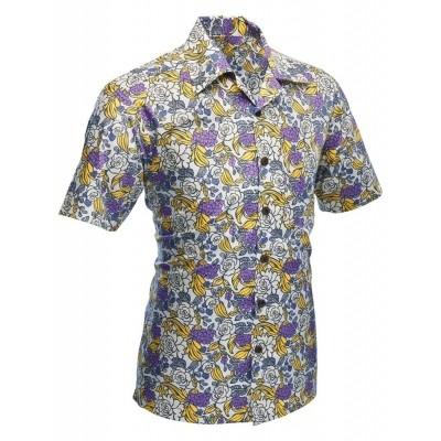 Overhemd korte mouw Surfer Flowers creme
