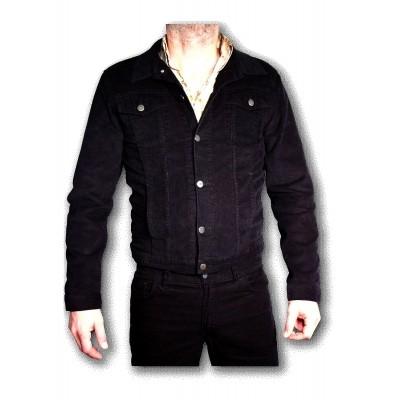 Ribcord jas Zwart