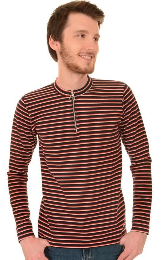 Shirt met lange mouwen gestreept retro navy