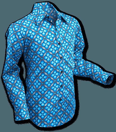 Overhemd Dotsgrid Black Petrol