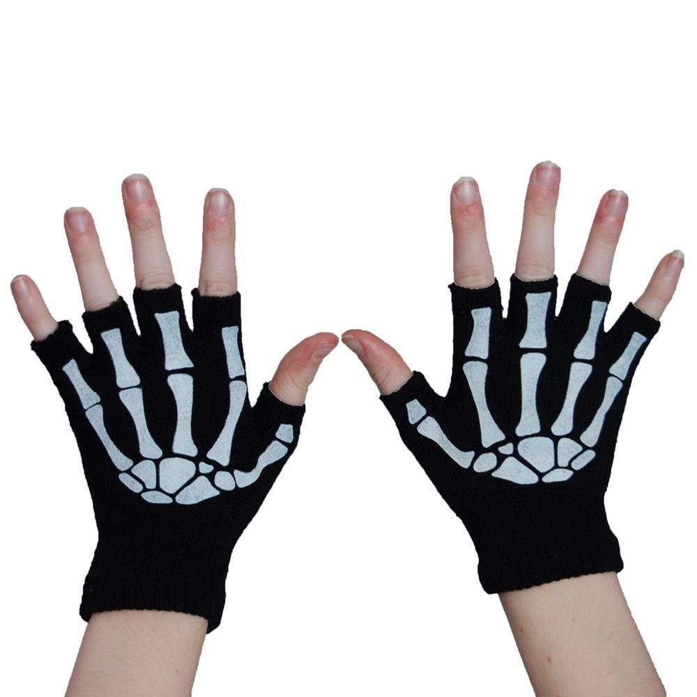 Handschoenen Vingerloos met Skeletprint