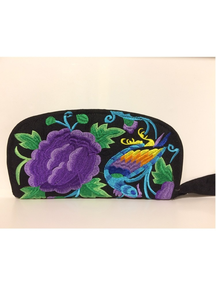 Portemonnee met Bloemen en Vogel Borduursel Paars