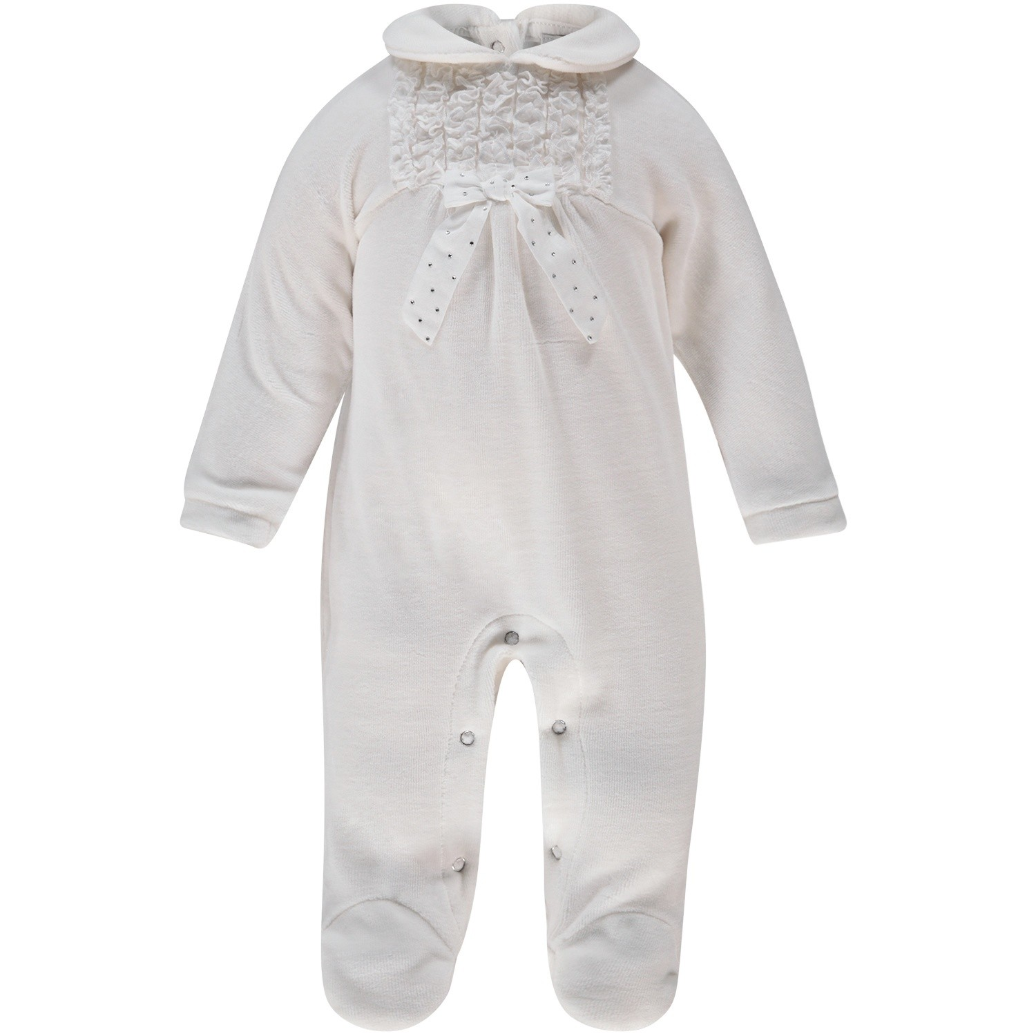 Picture of MonnaLisa 732202 baby playsuit off white