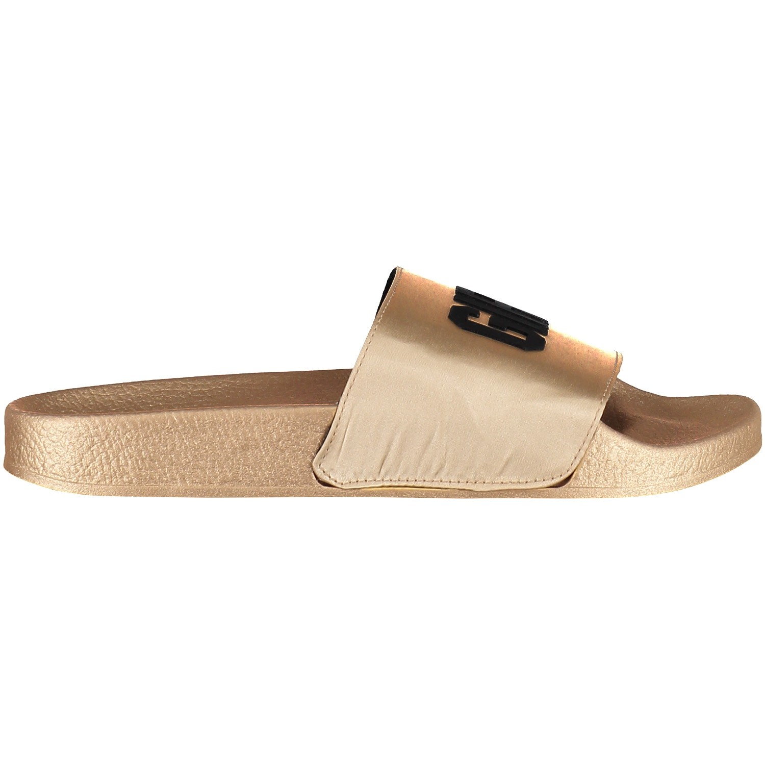 Afbeelding van The white Brand SATIN GG GOLD dames slippers goud