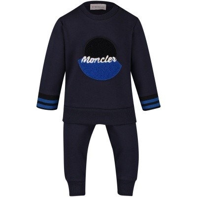 Picture of Moncler 8810805 baby sweatsuit navy