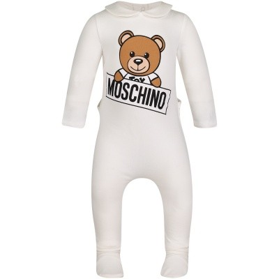 Picture of Moschino MUY01I baby playsuit off white