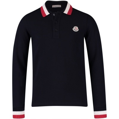 Picture of Moncler 8310105 kids polo shirt navy