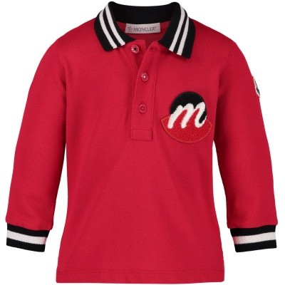 Picture of Moncler 8310205 baby poloshirt red