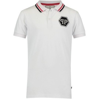Picture of Philipp Plein BTK0374 kids polo shirt white