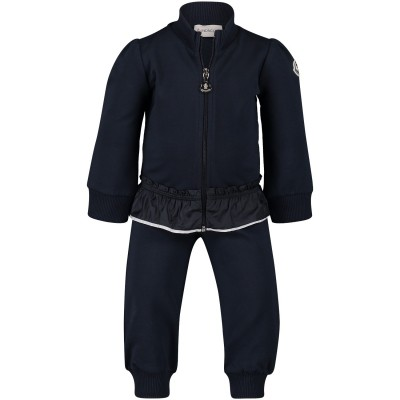 Picture of Moncler 8856405 baby sweatsuit navy