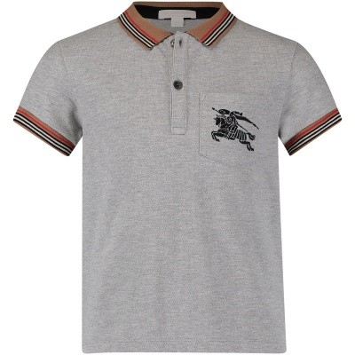Picture of Burberry 8002002 kids polo shirt gray