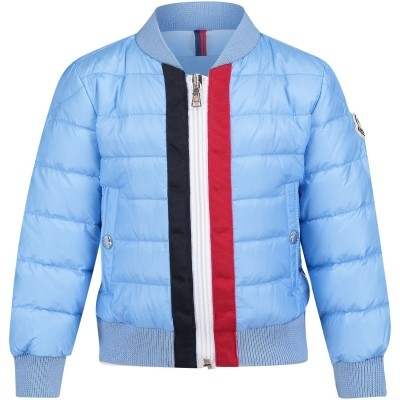 Picture of Moncler 4031805 baby jacket light blue