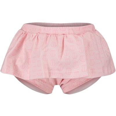 Picture of Philipp Plein CRV0003 baby skirt light pink