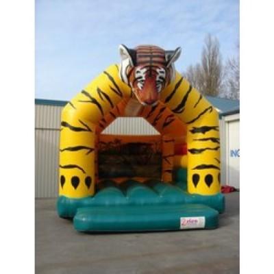 Luchtkussen / springkussen tijger 5 x 5,5 x 4,4 meter