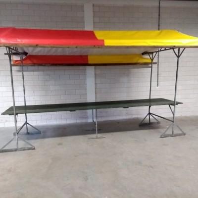 Marktkraam rood/geel dakje 400 x 120 cm