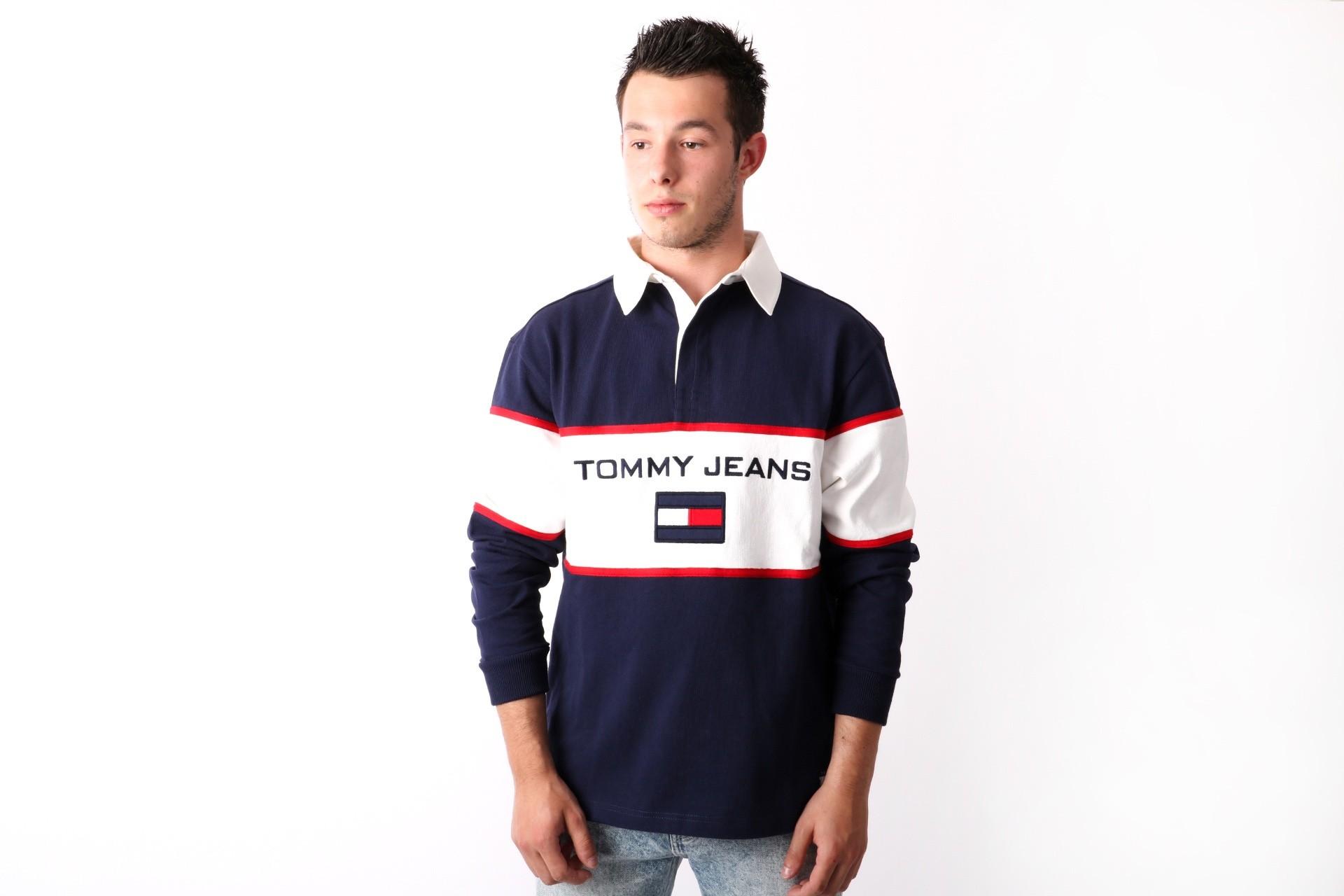 Foto van Tommy Jeans 90s Blocked Rugby Longsleeve Peacoat DM0DM05237-409