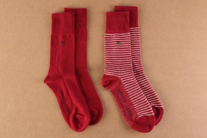 Afbeelding van Levi's Bodywear 943006001-072 Socks 168SF regular cut stripe 2-pack Rood