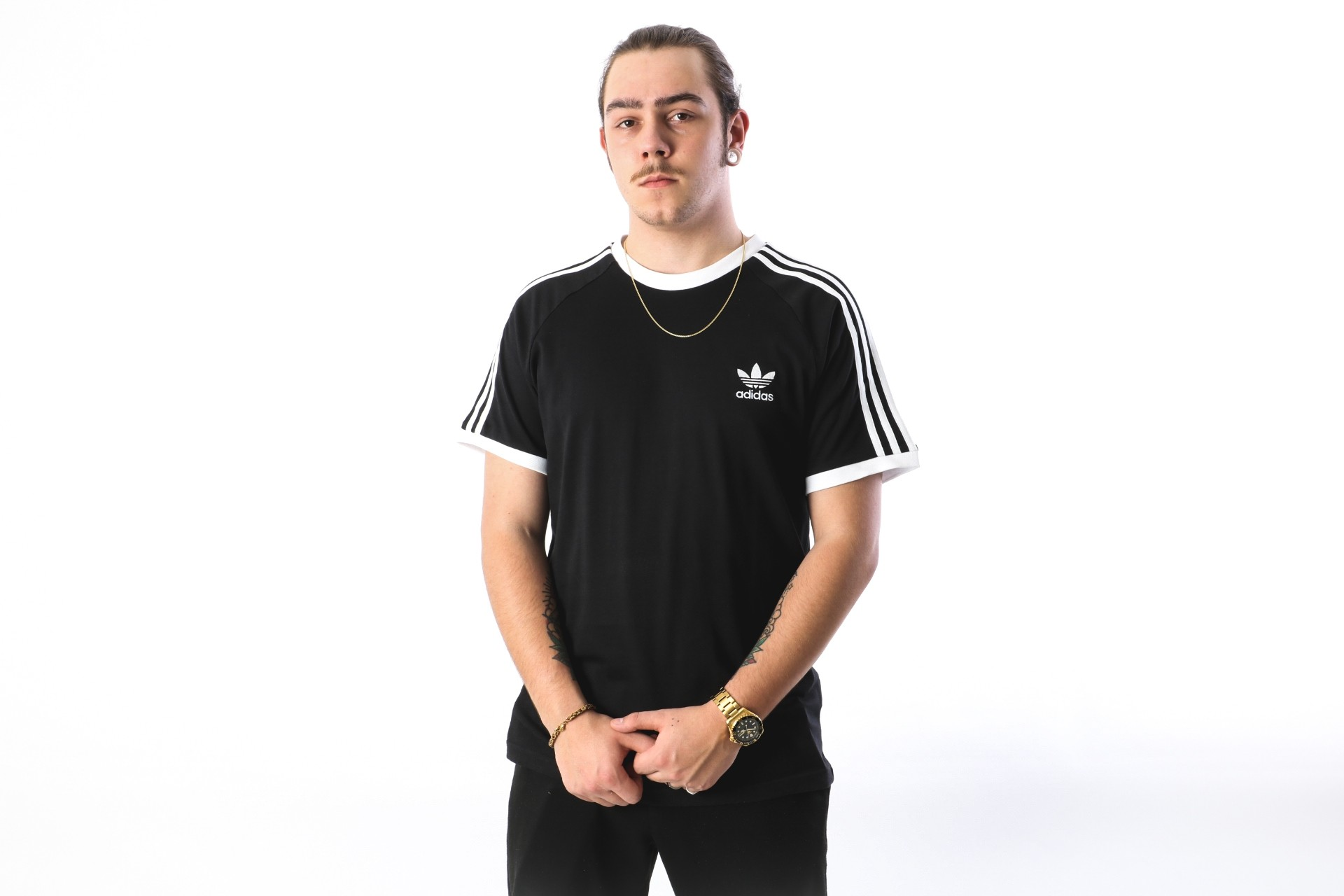 Foto van Adidas Originals CW1202 T-shirt 3-stripes Zwart